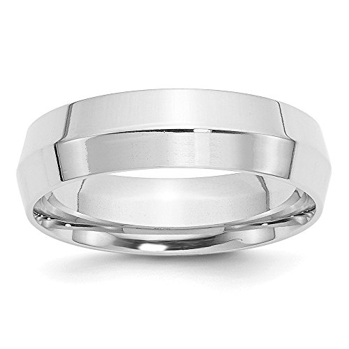14k White Gold 6mm Knife Edge Comfort Fit Wedding Ring Band Size 8 Classic Fine Jewelry Gifts For Women For Her ()