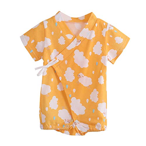 Shusuen Kimono Robe Newborn Cotton Yarn Robe Baby Romper Infant ()