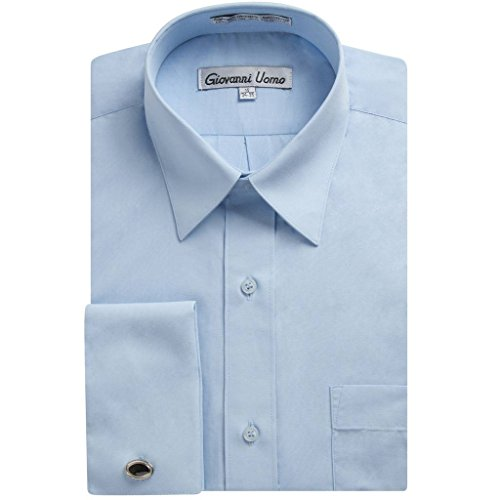 Gentlemens Collection Men's French Cuff Solid Dress Shirt (Cufflink Included) (Light Blue, 16.5\ Neck 34/35\
