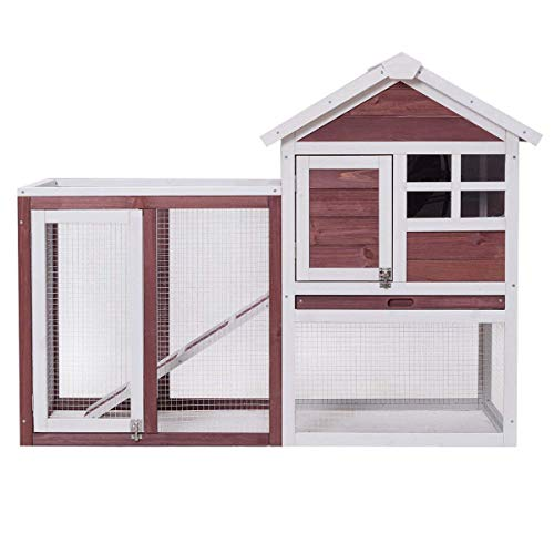 Tangkula Large Chicken Coop Wooden Rabbit Hutch Outdoor Garden Backyard Hen House Wood Pet House Poultry Cage with Outdoor Run (Red-Brown) from Tangkula