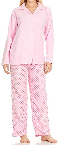 Unique Styles Womens 2 Piece Pajama Sets Micro Fleece V-Neck Top Drawstring Waistband Bottom (Pink w/Buttons, Large) ()
