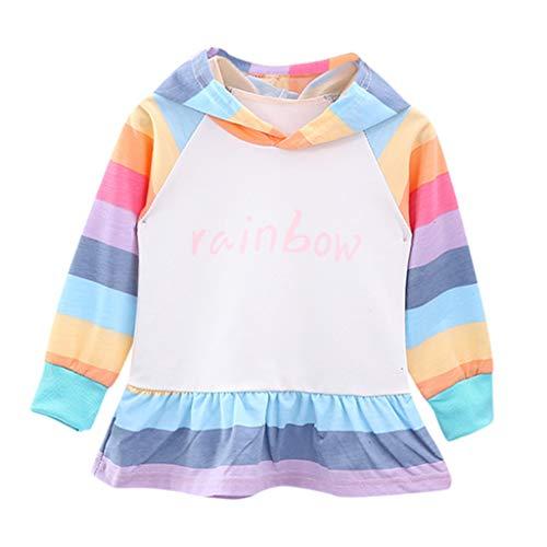 Toddler Kids Baby Girl's Dress Long Sleeve Rainbow Hoodie Sweatshirt Casual Shirt Pullover T Shirt Skirts (Best Baby Wipes Australia)