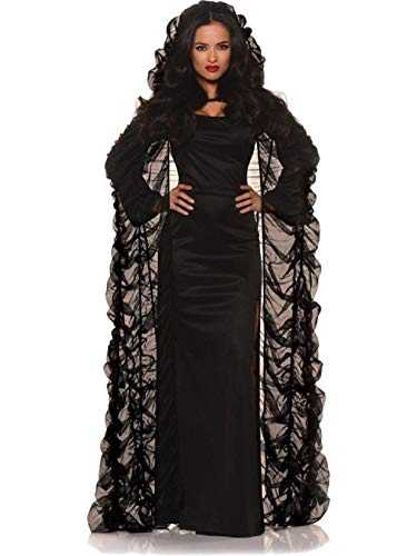 Adult Size Black Chiffon Hooded Coffin Cape - Costume Accessory
