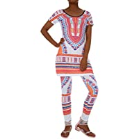 6c4feb988a Two Piece Outfits For Women African Dresses Geometric Printed Dashiki Top  and Leggings Sets