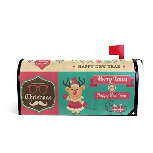Tollyee Vintage Christmas Symbols Magnetic Mailbox Cover Magnetic Mailbox Cover 9