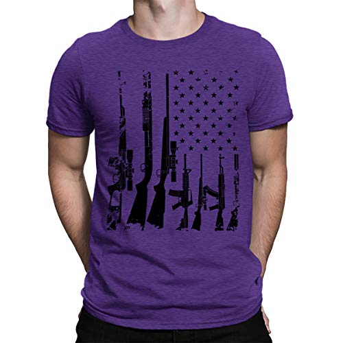 Distressed Emblem T-shirt - SpiritForged Apparel Distressed USA Gun Flag Men's T-Shirt, Purple Medium