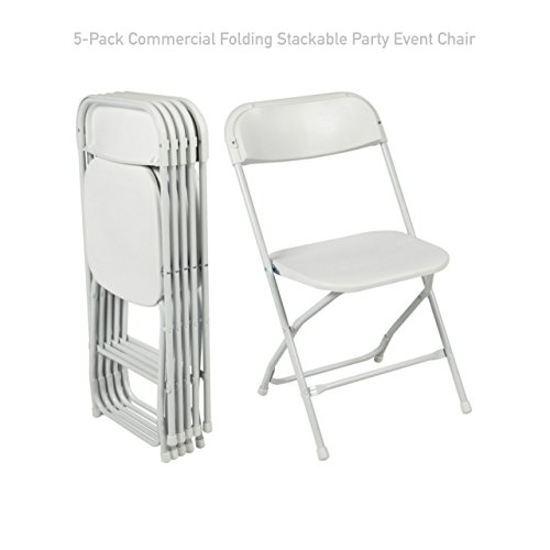 Commercial lightweight Plastic Folding Stackable Chair Wedding Party Holiday Events Seat Durable Powder-coated Steel Frame Home Kitchen Office Furniture - Set of 5 #1726 White (Sale Melbourne Furniture)