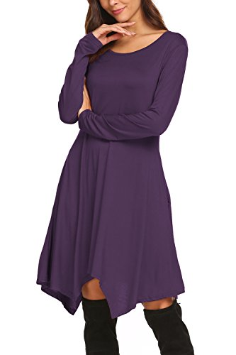 BLUETIME Women Casual Loose Stretchy Long Sleeve A-Line Dress With Pockets (L, Purple)