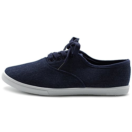 Ollio Womens Shoes Lace Up Sneakers Canvas Flats Indigo 0GH62A5