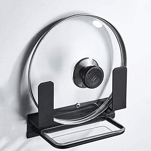 パン蓋ホルダー 2パックキッチンパンふたホルダー無料パンチング省スペースアルミ多機能家庭用 (色 : Black, Size : 20×13cm)