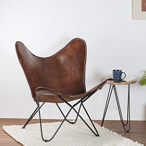 Madeleine Home Montreux Iron Butterfly Chair with Real Leather Seat Tan
