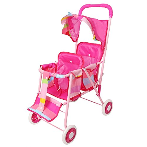 My First Doll Twin Stroller Pink Foldable Double Seat Doll Stroller with Swivel Wheels and Hood(No.3699)