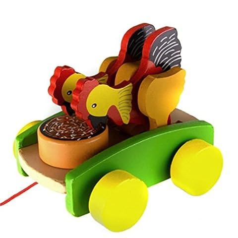 HOBULL Baby Kids Walk Along Toy Wooden Pull Toy Toddler String Chicken Toy for Children