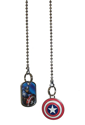 Marvel comics SUPER HERO superhero character Ceiling FAN PULL light chain (Captain America Portrait & Shield Logo) by Knight