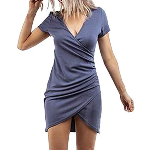 (Women Summer Holiday Dress,Qingell V Neck Short Sleeve Irregular Mini Dress Evening Party Dress T-Shirt Dress Blue)
