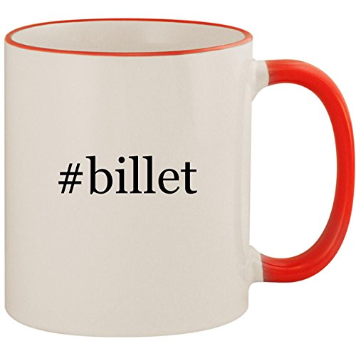 Billet Products Shift (#billet - 11oz Ceramic Colored Handle & Rim Coffee Mug Cup, Red)