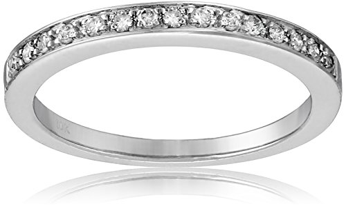10k White Gold Round-Cut Diamond Ring (1/6 cttw, J-K Color, I2-I3 Clarity), Size 9 by Amazon Collection