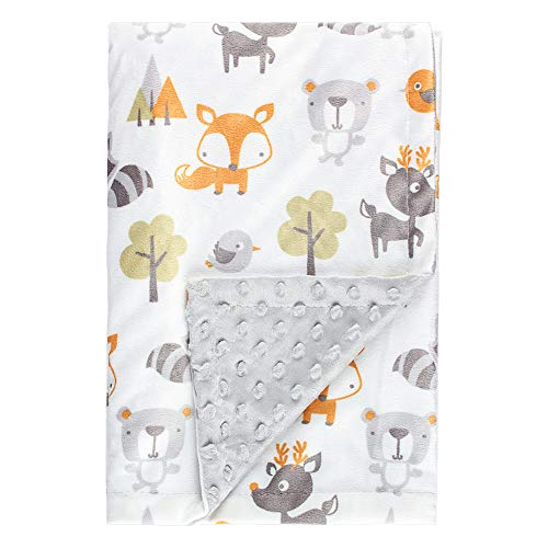 Soft Minky Baby Blanket, with Double Layer Dotted Backing, Plush Receiving Baby Blanket for Baby boy, Baby Girl, Newborns, Bedding (Bear & Fox)(30x40 - Layer Receiving Blanket
