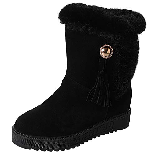 Fur Booties for Women, Sunyastor Women Boots Slip-On Soft Snow Boots Flat Winter Fur Lined Ankle Boots Shoes