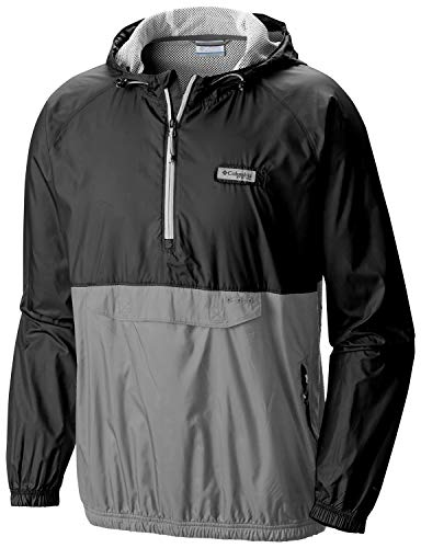Columbia- PFG Terminal Spray Anorak 1/2 Zip Jacket (XXL, Black/Grey)
