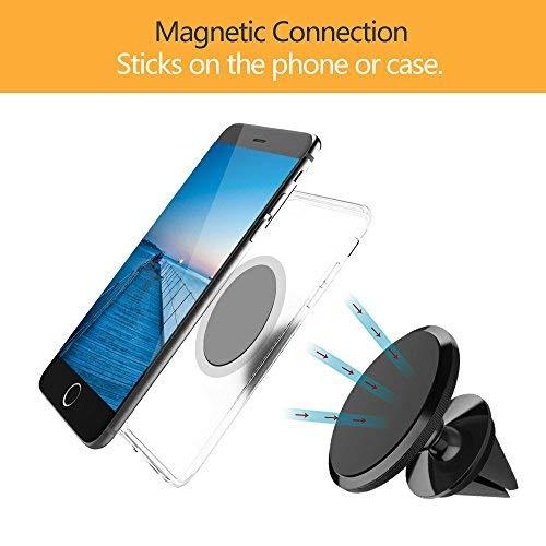 CLM-Tech Soporte movil Coche, 360° rotación Ajustable automotor Titular de Smartphone ventilación Universal magnético, Soporte teléfono móvil, ...