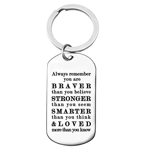Inspirational Motivational Quotes Stainless Steel Key Chain Ring Best Friends Gifts for Son Girls Daughter Kids Graduation Birthday Christmas Keychain -