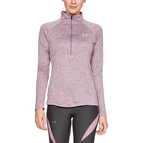 Under Armour Womens Tech Twist ½ Zip Long Sleeve Pullover, Purple Prime (521)/Metallic Silver, Large ()