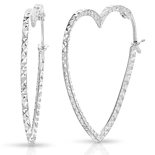 Heart Silver Sterling Shape Earrings (Sterling Silver Diamond-cut Heart Shape Hoop Earrings (Size: 1.5