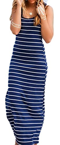 GAGA Women's Line Striped Sleeveless Tank Racerback Long Dresses 1 M