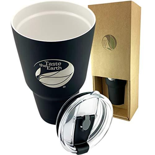 Large Ceramic Travel Mug Flat Black - The Original 28oz ceramic coated double wall vacuum insulated travel mug with Taste Lock, fluid attenuator, and vacuum sealing silicone lid. By - Mug Wall Double Porcelain