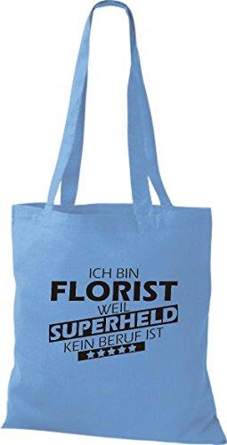 Shirtstown Stoffbeutel Ich bin Florist, weil Superheld kein Beruf ist hellblau