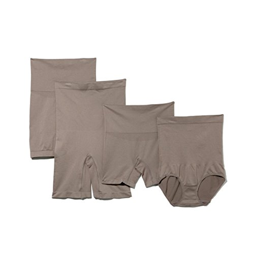 Yummie by Heather Thomson Womens Pack of 4 Seamless Shaping Bottoms (Large/X-Large, Mink)