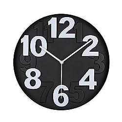 VIRGIN FOREST 12-Inch Round Classic Clock Retro Non Ticking Quartz Decorative Wall Clock (Black)