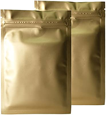 "Various QTY 3.3x5.1/"" Glossy Gold Flat Mylar Foil Zip Lock Bags 8.5x13cm"