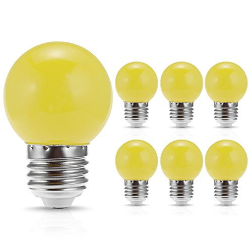 JandCase LED Globe Yellow Light Bulbs, 1W, Opaque, Tiny G14 Bulbs for Christmas Tree Ornament, Halloween Blowup Lantern, Medium Base, 6 Pack
