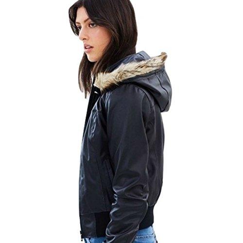 JamesCo-Womens-Vintage-Bomber-Vegan-Leather-Jacket-Removable-Liner-Hood-Black
