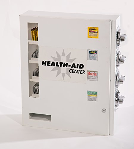 Health Aid 4 Select Medicine or Condom Vending Machine with HD ALL STEEL COIN MECHANISMS AND KNOBS