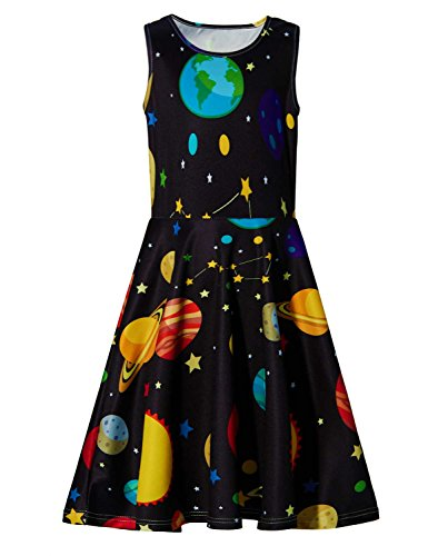 RAISEVERN Little Girls Sleeveless Dress Cute Casual Solar System Dresses 3D Print Round Neck Summer Swing Twirly Sundress for Kids Birthday Theme Party Size 4-5 Black -