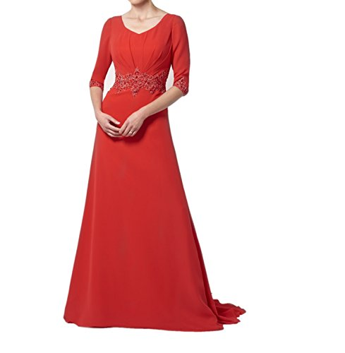 Brautjungfernkleider Braut Bodenlang Chiffon Marie Langarm La Ballkleider Rot Promkleider Abendkleider 81Oxnp5