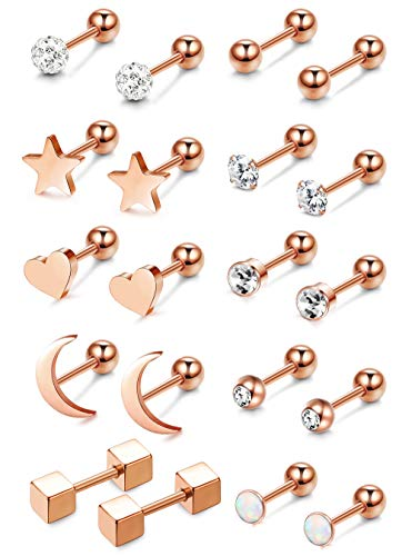Adramata 10 Pairs Stainless Steel Cartilage Earrings for Women Girls Ball Stud Helix Ear - Ear Studs Ball Piercing
