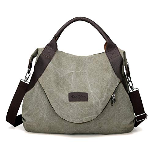 xiaoxiongmao Large Pocket Casual Women's Shoulder Cross body Handbags Canvas Leather Bags (One Size, Army green)