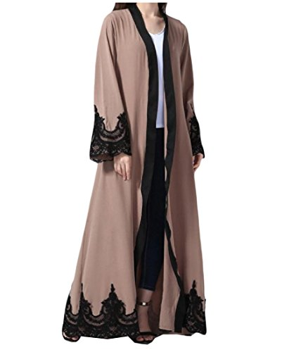 Comfy Women's Casual Lace Hem Line Stitch Long Sleeve Muslim Abaya