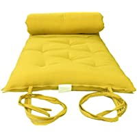 Brand New Yellow Twin Size Traditional Japanese Floor Futon Mattresses, Foldable Cushion Mats, Yoga, Meditaion 39 Wide X 80 Long