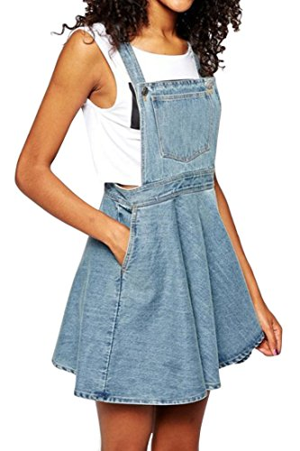 Azbro Azure Blue Denim Suspender Pinafore Dress, Azure Blue S