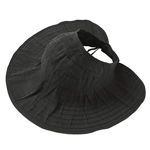 Women Wide Brim Visor Straw Hats Foldable Floppy Beach Sun UV Protection Caps Black ()