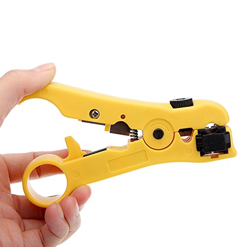 ripper for CAT5 CAT6 Flat or Round STP/UTP Cable Stripping Hand Tool for RG59/6/7/11 Tool with ProTouch Grips (Yellow) by HCWS (Datashark Network Tool)