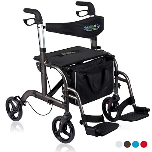 - Health Line 2 in 1 Rollator-Transport Chair w/Paded Seatrest, Reversible Backrest and Detachable Footrests, Titanium