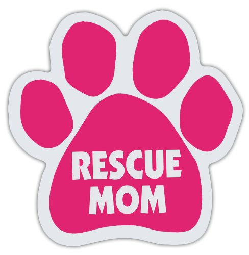 (Pink Dog Paw Shaped Magnets: RESCUE MOM | Dogs, Gifts, Cars, Trucks)