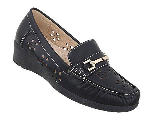 Schuhcity24 Damen Schuhe Mokassins Keil Schwarz