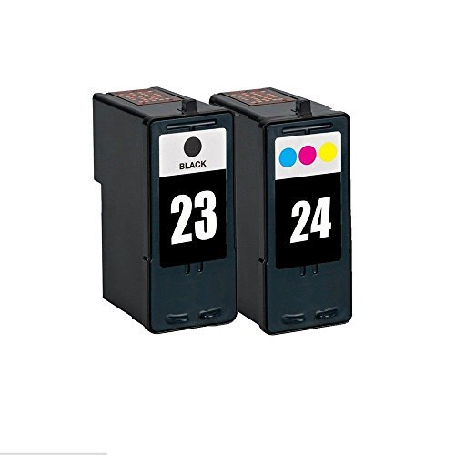Inktoner 2 Pack 23 24 Black/Color Ink Fits Lexmark Z1410 Z1420 X3530 X3550 X4530 X4550